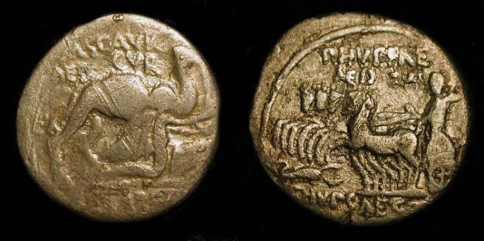 Ancient Coins - x Aemilia 8, 58 BC. King Aretus surrenders to Pompey. AR Denarius