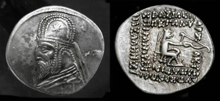 Ancient Coins - Parthia. Orodes I, 90-80 BC. AR Drachm. Sellwood 31.6