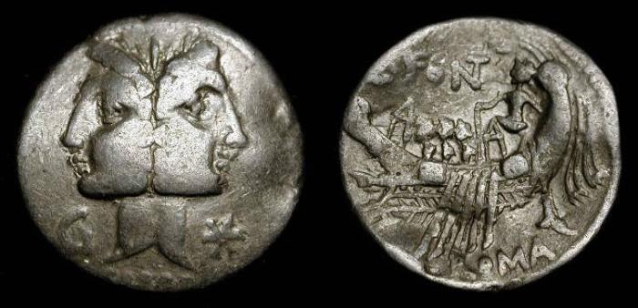Ancient Coins - x C. Fonteius. 114-113 BC. AR Denarius
