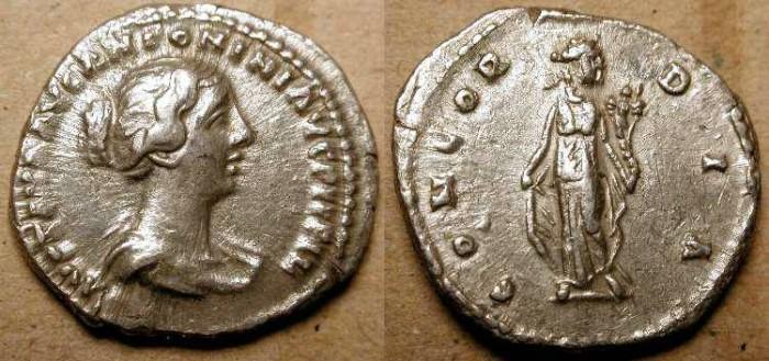 Ancient Coins - Faustina II . Wife of Marcus Aurelius .161 - 180  AD . AR Denarius .
