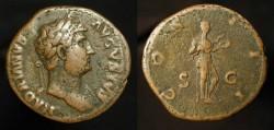 Ancient Coins - Hadrian 117-138 AD. Bronze As. Salus. RIC 679