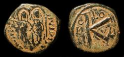 "World Coins - Arab Byzantine. ""Justin and Sophia"" type.  Early Caliphate. K reverse. Unpublished"