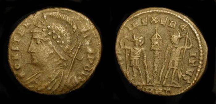 Ancient Coins - Constantinopoli / Gloria Exercitus Mule !  Very Scarce type !