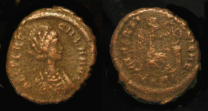 Ancient Coins - Aelia Flacilla, wife of Theodosius the Great (379-395 AD). AE 15, Heraclea RIC 17 (R1) Rare