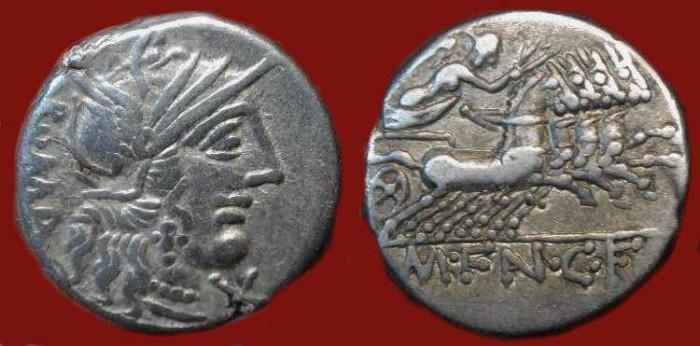 Ancient Coins - M. Fannius C. f. 123 BC . Nude Victory Driving Quadriga . Silver Denarius