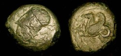Ancient Coins - Sicily, Syracuse. 4th Century BC. AE Trias.  Hippocamp