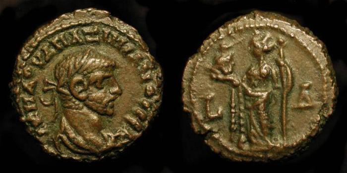 Ancient Coins - Roman Egypt. Maximianus 286-305 AD. Bil Tetradrachme. Alexandria holding head of Serapis