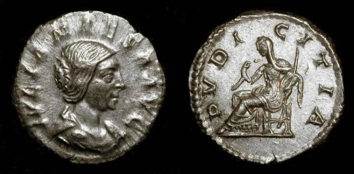 Ancient Coins - x Julia Maesa  (Grandmother of Elagabalus and Severus Alexander) Silver Denarius  Pudicitia