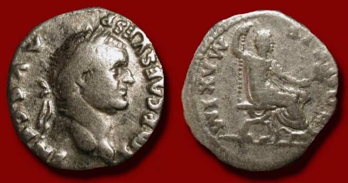 Ancient Coins - Vespasian  69-79 AD .  Silver Denarius. Pontif Maxim