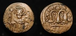 Ancient Coins - Arab Byzantine. Pseudo-Damascus. Standing emperor with moustache and pointed beard.