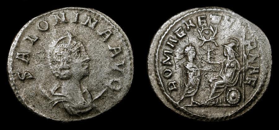 Ancient Coins - Salonina, wife of Gallienus 253-268 AD. AR Antoninianus. Antioch Mint. RIC 67, wreath with pellet variety.