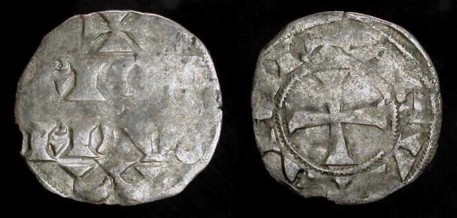 "World Coins - Richard I ""The Lionhearted"" as Duke of Aquitaine. 1172-1189 AD. AR Denier. Bordeaux Mint. Elias 4. Richard was a leader of the 3rd Crusade."