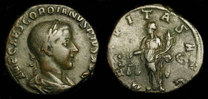 Ancient Coins - Gordian III . 238 - 244 AD . AE Sestertius