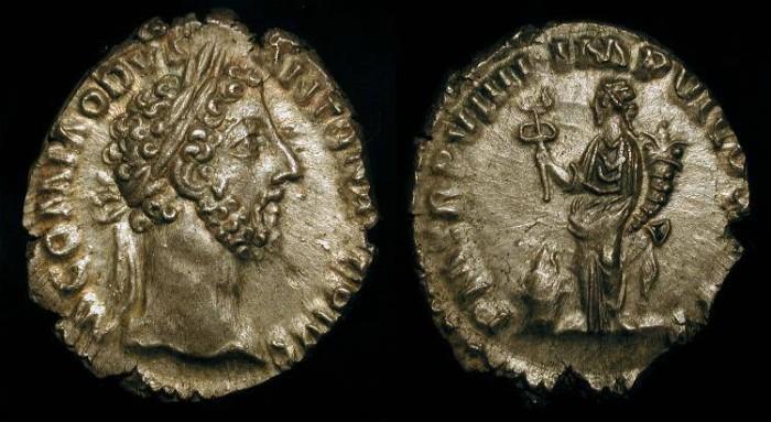 Ancient Coins - Commodus  177-192 AD. AR Denarius.  RIC 74. Superb Portrait !