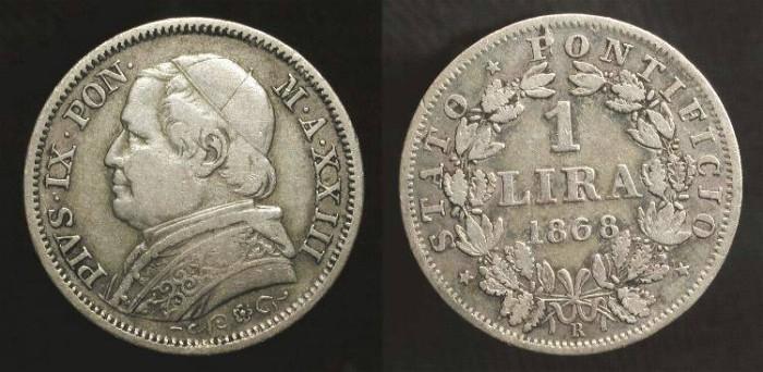World Coins - Papal States. Pope Pius IX, 1846-1878 AD. Silver Lira. Rome 1868