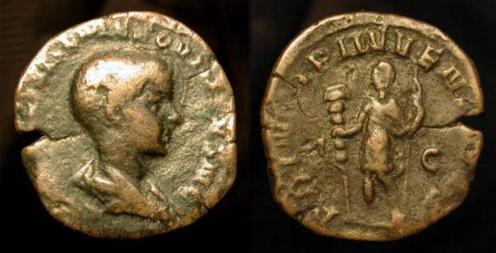 Ancient Coins - Hostilian as Caesar 250-251 AD.  AE Sestertius