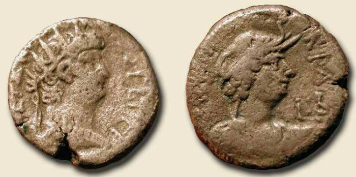 Ancient Coins - Nero.  54 - 68  AD.  Unpublished Egypt Tetradrachm. w/ Alexander the Great in Elephant headress reverse
