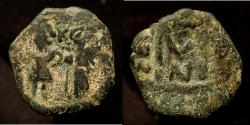 Ancient Coins - Arab Byzantine : Two Standing Figures, ca. 636-640, AE fals, N[eapolis] (Nablus). Album A-3502N