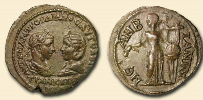 Ancient Coins - Mesembria, Thrace.  Gordian III and Tranquillina .  AE  29mm