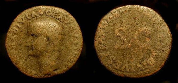 Ancient Coins - Tiberius AE As, Restoration issue by Titus. RCV 2591. Scarce