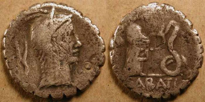 Ancient Coins - L. Roscius Fabatus . 64 BC  .  AR Denarius .