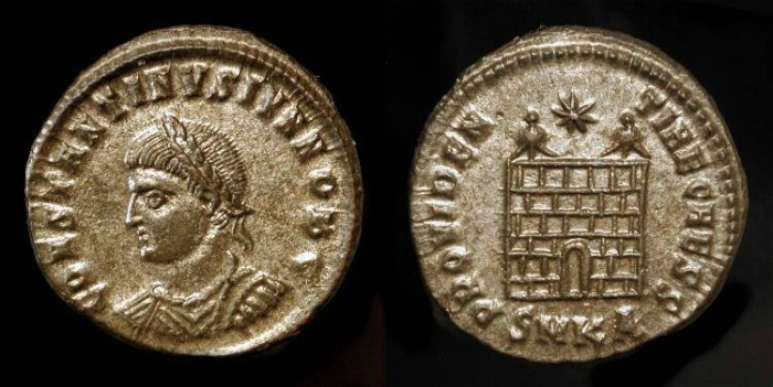 Ancient Coins - Constantine II as Caesar (317-337 AD). AE3.  Campgate. Constantine II as Caesar (317-337 AD). AE3.  Campgate. Nearly Fully Silvered