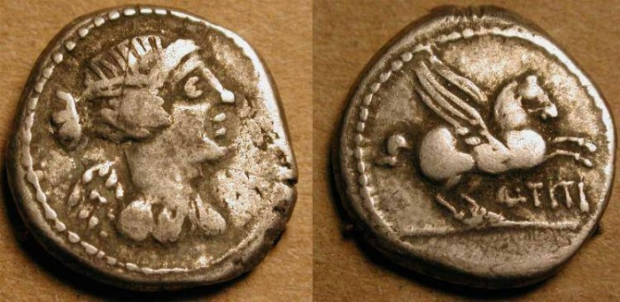 Ancient Coins - xQuinarius . 90  BC  . Roman Republic . Pegasos .