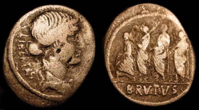 Ancient Coins - M. Junius Brutus, 54 BC. AR Denarius