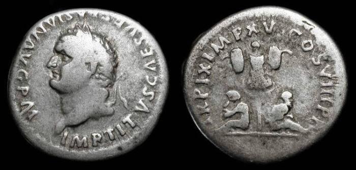 Ancient Coins - Titus 69-79 AD. AR Denarius. Judaea Capta. Hendin 1584a