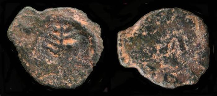 Ancient Coins -  Herod the Great 37 - 4 BC. AE Prutah. H 1186 (?)