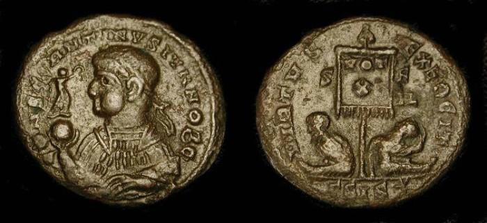 Ancient Coins - Constantine II as Caesar. 317 - 337 AD. AE Follis.  RARE (r2)