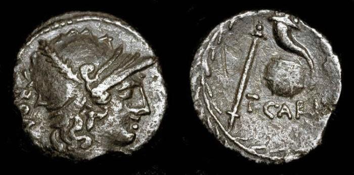 Ancient Coins - X AR Denarius of Titus Carisius celebrating the Triumphs of Julius Caesar. 46  BC.
