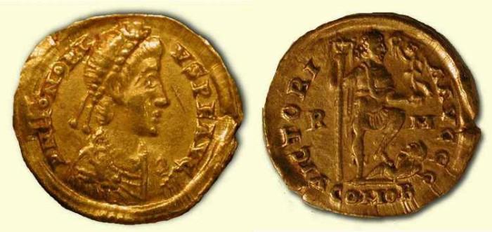 Ancient Coins - x Honorius . 395-423 AD . Gold Solidus . r 4  -  Rare .  Rome Mint .