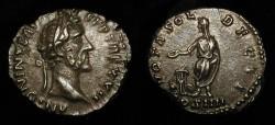 """Ancient Coins - Antoninus Pius  138-161 AD. AR Denarius. RIC 291. Beautiful """"Old Cabinet"""" Toning"""