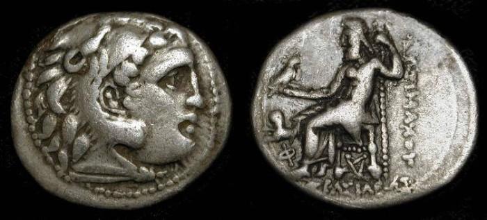 Ancient Coins - Lysimachos 323-281 BC. AR Drachme. Kolophon mint. Lifetime issue