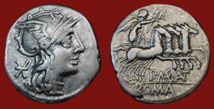 Ancient Coins - P. Maenius Antiaticus M.f. 132 BC. Roma / Nude Victory Driving Quadriga.