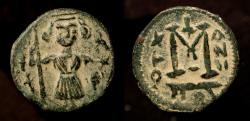 Ancient Coins - Arab Byzantine. Pseudo-Damascus. Standing figure wearing short Tunic with Falcon. Album 3527