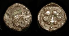 Ancient Coins - Samaria, 375-333 BC AR Obol. Facing Lion Scalp.  M&Q 161