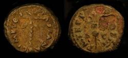Ancient Coins - Vespasian 69-79 AD. AE Quadrans. Judaea Capta. Palm Tree / Vexillum
