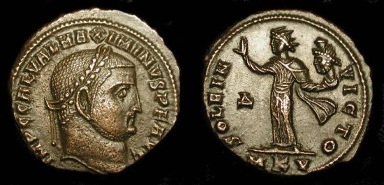 Ancient Coins - Maximinus II 309-313 AD. AE Follis. Sol holding head of Serapis ! Cyzicus, RIC 92 (s) Scarce !
