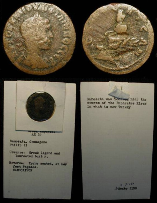 Ancient Coins - Commagene, Samosata. Philip II, as Caesar. 244-247 AD. AE 29mm. Tyche/ Pegasus