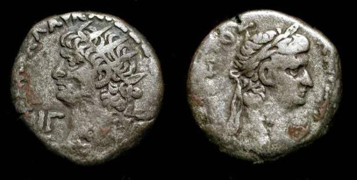 Ancient Coins - Nero and Tiberius. Roman Egypt, Tetradrachme