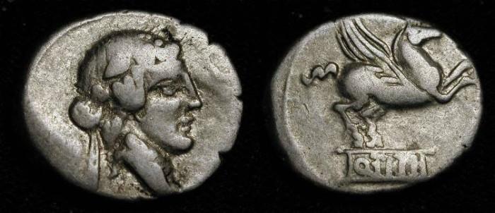 Ancient Coins - Q. Titius,  90 BC, Silver Denarius. Bacchus / Pegasus