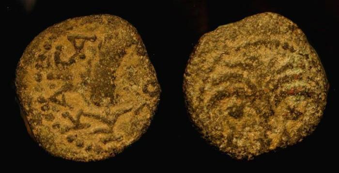Ancient Coins - Judaea, Marcus Ambibulus, Roman Prefect under Augustus, 9 - 12 AD. AE Prutah
