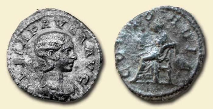 """Ancient Coins - Julia Paula . AR Denarius  . """"Concordia""""   SCARCE"""