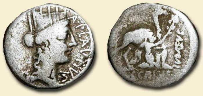 Ancient Coins - z Republican Denarius. 55 BC . Pompey captures Aristobulus. Scarce Type