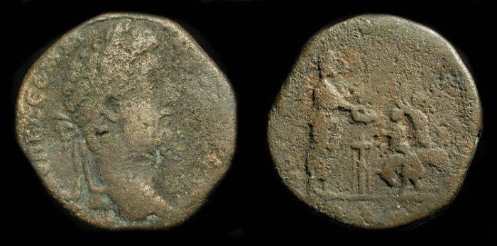 Ancient Coins - Commodus 177-192 AD. AE Sestertius. Very Rare Bull Sacrifice Type. RIC 603