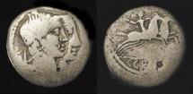 Ancient Coins - C. Censorinus. 88 BC. AR Denarius. Numa Pompilius,the second king of Rome.