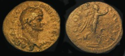 Ancient Coins - DOMITIAN, As Caesar, 69-81 AD. AE As, Victory standing on prow, COS II.