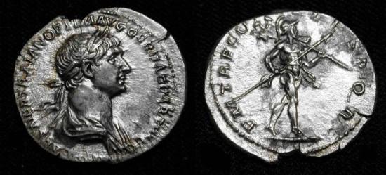 Ancient Coins - xTrajan  98-117 AD. AR Denarius. Beautiful XF example.